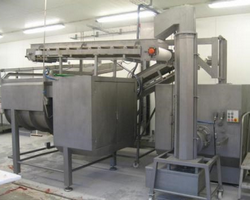 Ground meat mixing line